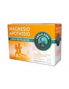 Magnesio Potassio Carlo Erba - 20 buste Integratore di Sali di Magnesio e Potassio