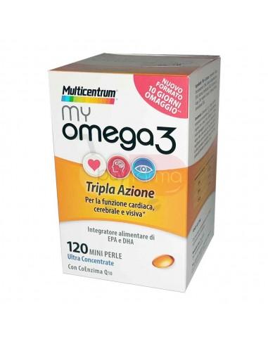 Multicentrum My Omega3 - 120 Mini Perle Integratore di EPA e DHA Tripla Azione